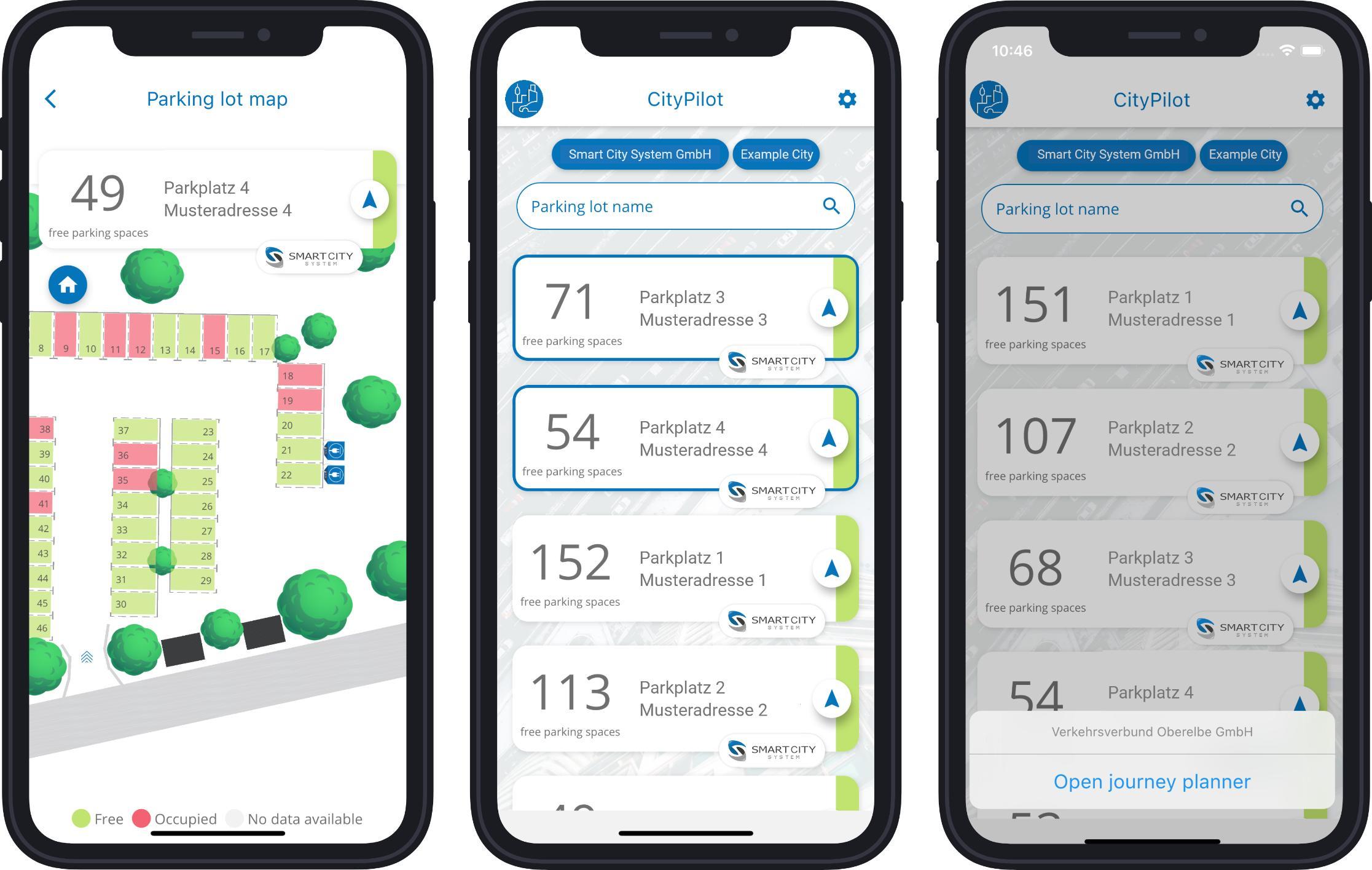 Smart city parking app